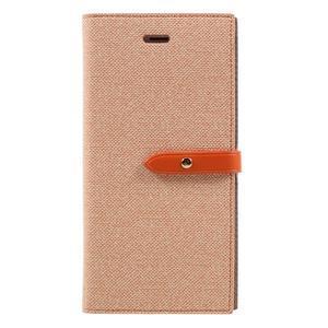 Fashions textilné peňaženkové puzdro pre iPhone 7 Plus a iPhone 8 Plus - oranžové - 1