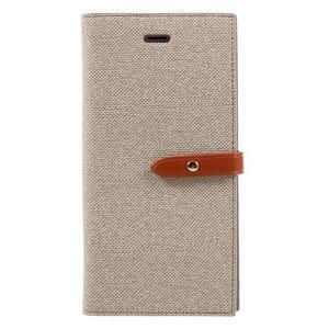 Fashions textilné peňaženkové puzdro pre iPhone 7 Plus a iPhone 8 Plus - khaki - 1