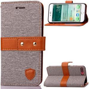 TexaCloth PU kožené/textilné puzdro pre iPhone 7 Plus a iPhone 8 Plus - sivé - 1