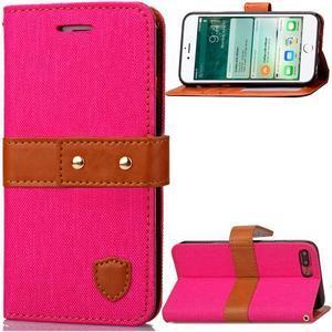TexaCloth PU kožené/textilné puzdro pre iPhone 7 Plus a iPhone 8 Plus - rose - 1