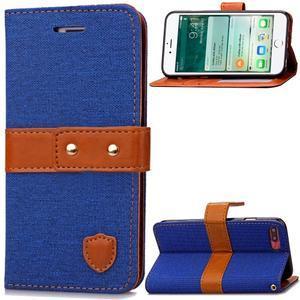 TexaCloth PU kožené/textilné puzdro pre iPhone 7 Plus a iPhone 8 Plus - modré - 1