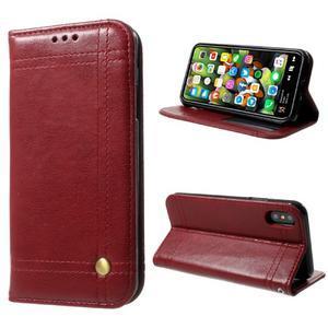 Retro style PU kožené puzdro na mobil iPhone X - červené - 1
