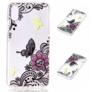 Bossi gélový obal na mobil iPhone X - motýľ a kvetina - 1