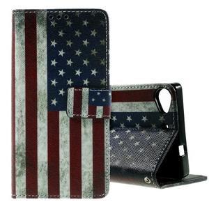 Peňaženkové PU kožené puzdro Lenovo Vibe X2 - USA vlajka - 1
