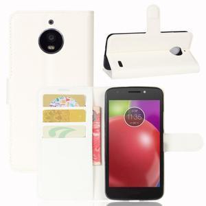 Grain PU kožené puzdro pre mobil Lenovo Moto E4 - biele - 1