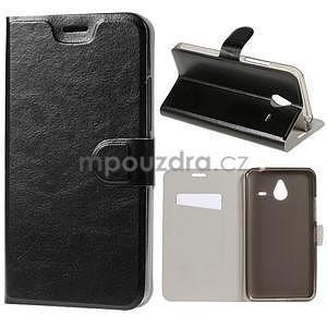 Peňaženkové PU kožené puzdro na Microsoft Lumia 640 XL - čierne - 1