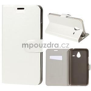Peňaženkové PU kožené puzdro na Microsoft Lumia 640 XL - biele - 1