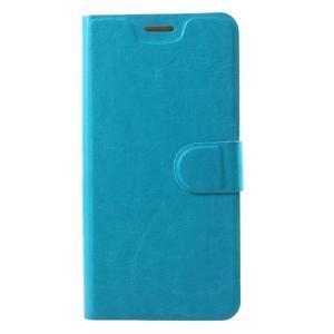 Horse PU kožené puzdro na mobil Motorola Moto G6 Play - modré - 1
