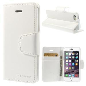 Peňaženkové koženkové puzdro na iPhone 5s a iPhone 5 - biele - 1
