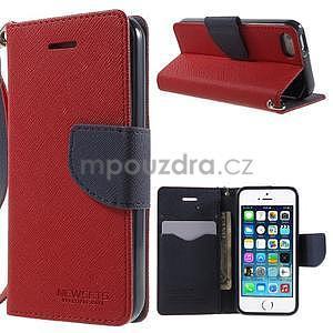 Dvojfarebné peňaženkové puzdro pre iPhone 5 a 5s - červené/tmavomodre - 1