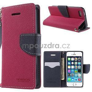 Dvojfarebné peňaženkové puzdro na iPhone 5 a 5s - rose/ tmavomodré - 1