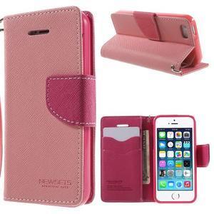 Dvojfarebné peňaženkové puzdro pre iPhone 5 a 5s - ružové/rose - 1