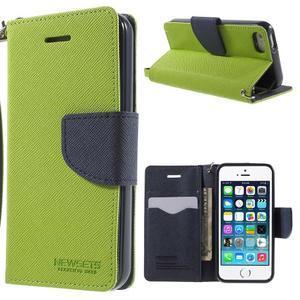 Dvojfarebné peňaženkové puzdro na iPhone 5 a 5s - zelené/ tmavomodré - 1