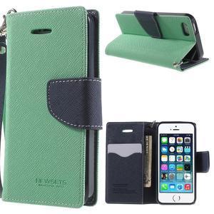Dvojfarebné peňaženkové puzdro na iPhone 5 a 5s - azurové/ tmavomodré - 1