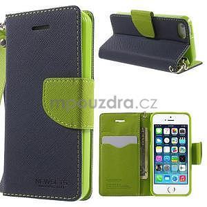 Dvojfarebné peňaženkové puzdro na iPhone 5 a 5s - tmavomodre/zelené - 1