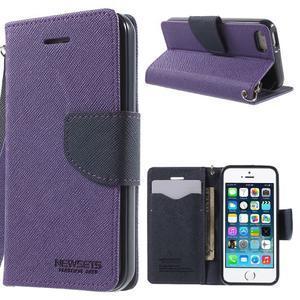 Dvojfarebné peňaženkové puzdro na iPhone 5 a 5s - fialové/tmavomodré - 1