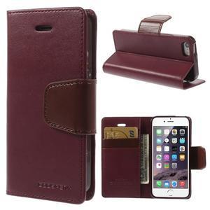 Peňaženkové koženkové puzdro na iPhone 5s a iPhone 5 -  vínové - 1