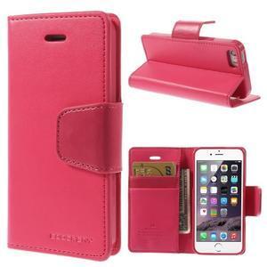 Dvojfarebné peňaženkové puzdro pre iPhone 5 a 5s - rose/ružové - 1