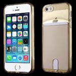 Ultra tenký obal s vreckom pre iPhone 5 a 5s - champagne - 1/6