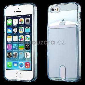 Ultra tenký obal s vreckom pre iPhone 5 a 5s - modrý - 1