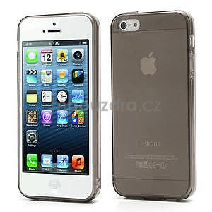 Gélový transparentný obal na iPhone 5 a 5s - šedý - 1