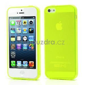Gélový transparentný obal na iPhone 5 a 5s - žiarivo žltý - 1