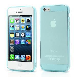 Gélový transparentný obal pre iPhone 5 a 5s - svetlomodrý - 1