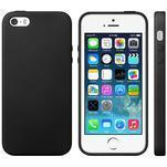 Gélový obal s textúrou na iPhone 5 a 5s - čierny - 1/5