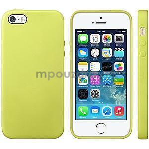 Gélový obal s textúrou na iPhone 5 a 5s - žltozelený - 1