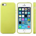 Gélový obal s textúrou na iPhone 5 a 5s - žltozelený - 1/5