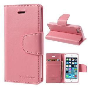 Peňaženkové koženkové puzdro na iPhone 5s a iPhone 5 - ružové - 1