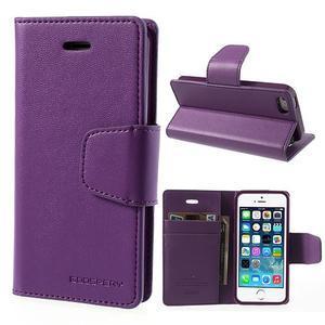 Peňaženkové koženkové puzdro pre iPhone 5s a iPhone 5 - fialové - 1