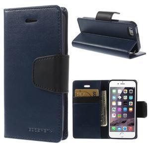 Peňaženkové koženkové puzdro pre iPhone 5s a iPhone 5 - tmavomodré - 1