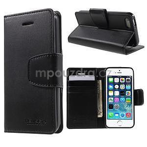 Peňaženkové koženkové puzdro na iPhone 5 a iPhone 5s - čierne - 1