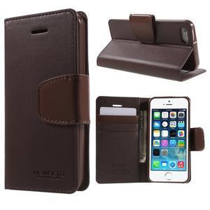 Peňaženkové koženkové puzdro na iPhone 5 a iPhone 5s - tmavohnedé - 1