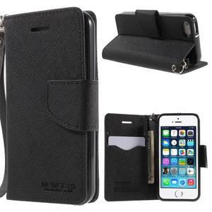 Dvojfarebné peňaženkové puzdro na iPhone 5 a 5s - čierne/čierne - 1