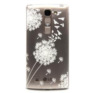 Priehľadný gélový obal na LG G4c - biela púpava - 1