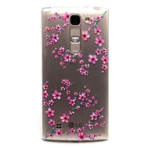 Priehľadný gélový obal pre LG G4c - slivkové kvety - 1