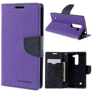 Diary PU kožené puzdro na LG G4c -fialové - 1