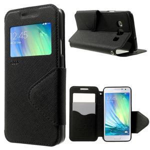 Roar peňaženkové puzdro s okienkom na Samsung Galaxy A3 - čierne - 1