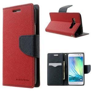 Diary PU kožené puzdro na Samsung Galaxy A3 - červené - 1