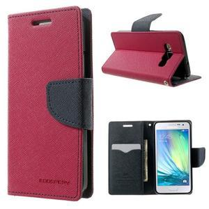 Diary PU kožené puzdro na Samsung Galaxy A3 - rose - 1