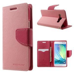 Diary PU kožené puzdro na Samsung Galaxy A3 - ružové - 1