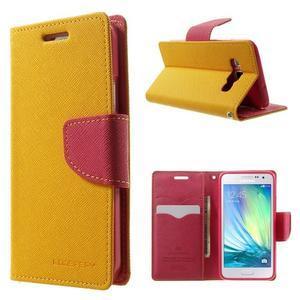 Diary PU kožené puzdro pre Samsung Galaxy A3 - žlté - 1