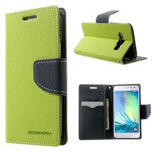 Diary PU kožené puzdro na Samsung Galaxy A3 - zelené - 1