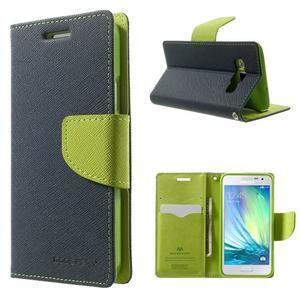 Diary PU kožené puzdro na Samsung Galaxy A3 - tmavomodré - 1