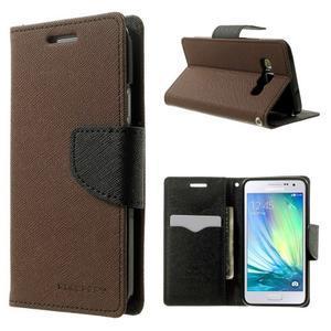 Diary PU kožené puzdro na Samsung Galaxy A3 -hnedé - 1