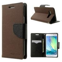 Diary PU kožené puzdro na Samsung Galaxy A3 -hnedé - 1/7