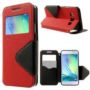 Roar peňaženkové puzdro s okienkom pre Samsung Galaxy A3    - červené - 1