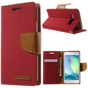 Luxury textilné / koženkové puzdro na Samsung Galaxy A3 - červené - 1